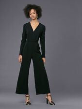 ee6b09a9c52 Diane Von Furstenberg Long-Sleeve Crossover Jumpsuit Black Size 10 NEW   498.00