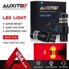 2X 7443 Red LED Flash Strobe Blinking Alert Safety Brake Tail Stop Light Bulbs