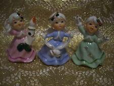 RARE VTG Lefton Christmas Angels Girl Hands Hold Candle Bells Stars Figurine Set