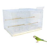 Large Aviary Breeding Bird Cage Budgie Finch Parakeet Divided Flight Cage White