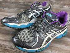ASICS GEL-Nimbus 14 Grey Blue Purple Running Shoes Sneakers Women's Size 9.5