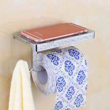Chrome Carved Flower Bathroom Toilet Roll Paper Phone Holder Wall Mounted Shelf