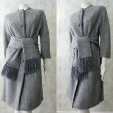 Vtg 60s Heathered Gray Tweed Wool SWING Coat with Matching Scarf Belt
