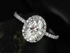 1.75 Tcw Oval Cut Diamond Halo 14 k White gold Wedding Ring Engagement Ring