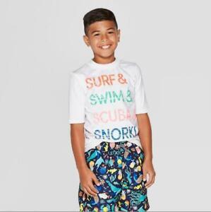 """Cat & Jack Boys White """"Surf Swim Scuba Snorkel"""" Rash Guard UPF 50  (S,M,L,XL)"""