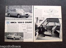 AW96 - Clipping-Ritaglio -1969- PROVE SU STRADA , SIMCA 1200 S COUPE'