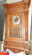 Antique Wall Clock Paris France Carved Walnut Case- Beautiful- 36 inches Tall