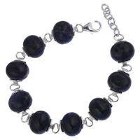 Damen Armband echt Silber 925 Sterlingsilber rhodiniert Sodalith blau 19-21,5 cm