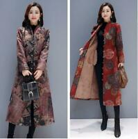 Women Floral Printed Ethnic Woolen Coat Long Warm Brushed Fleeced Lined Outwears