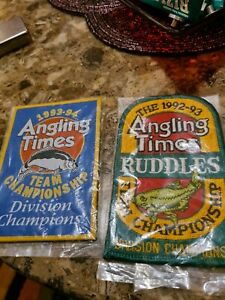 Angling Times vtg fishing patches.x2.