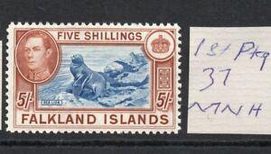 FALKLAND ISLANDS GEORGE VI 5/- 1st Ptg. 37 MNH verified SUPERB!