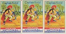 Lot of 3 Vintage Captain Kidd National Fireworks Firecracker Pack Labels