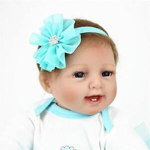 "22"" Reborn Dolls Cloth Body Lifelike Cute Baby Girl Handmade Doll Silicone Vinyl"