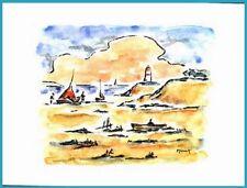 Lavis du XXe siècle et contemporains en paysage marin, bateau