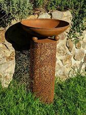 LARGE DESIGN BIRD bath feeder CUT OUT RUST NEW    beautiful!