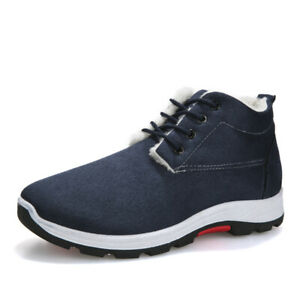 Men's Shoes Winter Warm Flat Casual Faux-Suede Lace-Up Outdoor New Snow Boots B