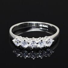 White Gold gp Lab Diamond Eternal Five Stone Wedding Party Anniversary Band Ring