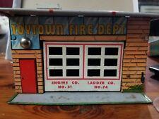 Vintage 1950's Wyandotte Toys TOYTOWN FIRE DEPT Garage Tin Litho