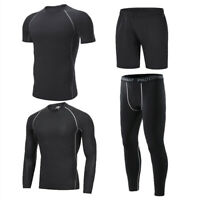 Mens Compression Base Layer Long Sleeve Shirt GYM Shorts Workout Running Pants