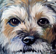 Broadway Original Impressionism Acrylic 3x3 in. Boarder Terrier dog painting