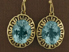 E090- Genuine 9K Yellow Gold Natural LARGE oval Topaz Drop Earrings  Grecian key