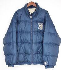 Starter Jacket Notre Dame Down-Filled Puffer Coat L Reversible Blue Tan Irish