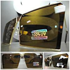 Men or Women CLASSIC VINTAGE RETRO SHIELD Style SUNGLASSES Gold Frame Brown Lens