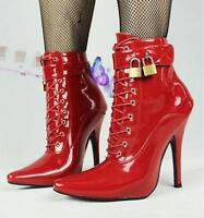 Women Patent Leather lock buckle high heels pointed toe strap short boot shoes @