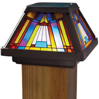 Stained Glass Solar Power Light Fence Post Cap Mount Outdoor Garden LED Lamp NEW