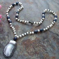 """Black Rice freshwater Pearl White Round Pearl 26""""   Necklace Shell CZ Pendant"""