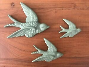S/3 Sage Green Flying Wall Birds Hanging Retro Vintage Style Ornament Swallow
