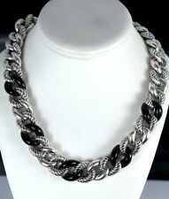 $4,500 David Yurman Cabochon Black Onyx Belmont Curb Silver Link 18mm Necklace