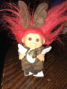 """Troll Doll 3"""" Red Hair Amber Upturned Eyes  Christmas Reindeer"""