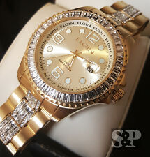 Men's ELGIN Gold Tone Iced Out Luxury Crystal Round Stainless Steel Dress Watch