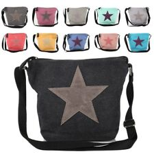 * Stern Star Umhänge Tasche Cross Bag Shopper Clutch Jeans Canvas Stoff Vintage