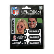 (HCW) Oakland Raiders NFL Team Adhesive Face Decorations Pack of 6