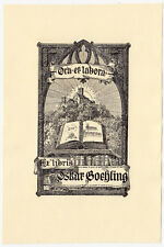 "Exlibris Bookplate * OTTO ANTOINE * Burg Neues Testament ""Ora et Labora"" Castle"