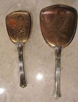 Vintage Gold Plated 2 Piece Vanity Brush and Mirror Set