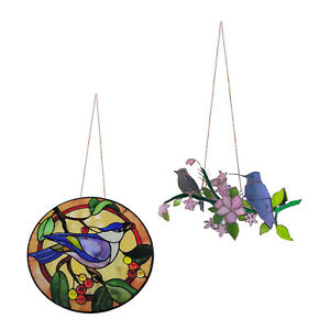 Acrylic Stained Glass Birds Hanging Suncatcher Home Decoration Ornament Gift