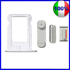CARRELLO SLOT PORTA MICRO SIM + KIT TASTI VOLUME POWER ARGENTO PER IPHONE 5