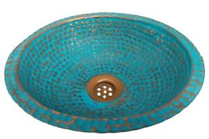 Rustic Green Patina Aged Oxidized Copper Dome Renovation Bathroom Sink Bowl