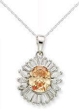 Sterling Silver Champagne Color CZ Pendant w/Chain - Gift Boxed