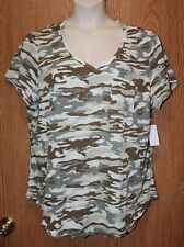 Womens Camo Camouflage No Comment Cap Sleeve Shirt Size 1X NWT NEW