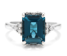 3.85 Carats Natural LONDON BLUE TOPAZ and Diamond 14K White Gold Ring