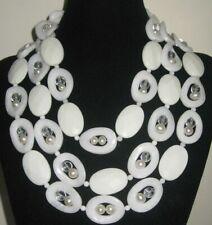 Handmade ,Natural Gemstone, Natural White Jade Three Strand Necklace