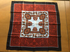 Vintage Women's Scarf Headscarf, Brown Red White Grey Acetate Crepe 1960s Japan