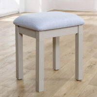 Taupe grey dressing table vanity stool cushioned bedroom furniture seating decor