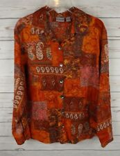 Chicos Cotton Shirt Size 2 Red Patchwork Paisley Large Long Sleeve