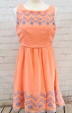 Flying Tomato Anthropologie Sun Dress Size M Orange Embroidered Lightweight