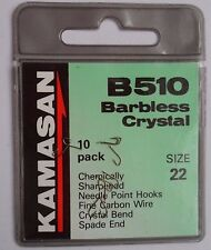 Kamasan B611 WideGape Nic 24 & Crystal Barbless 22  (20 hooks in total)FreeP&P